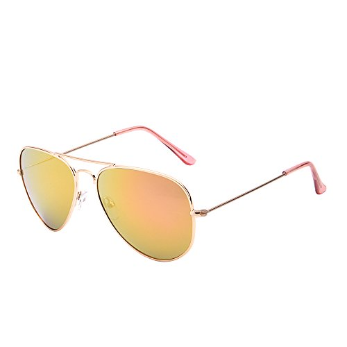 7d55e31b47d Galleon - Retro Mirror Aviator Sunglasses Flash Tinted Lens Eyeglasses For Women  Men UV400 (Gold Pink)