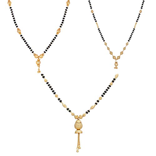 Zeneme Women Pride Jewellery Gold Plated Combo of 3 Mangalsutra Pendant with Chain for Women