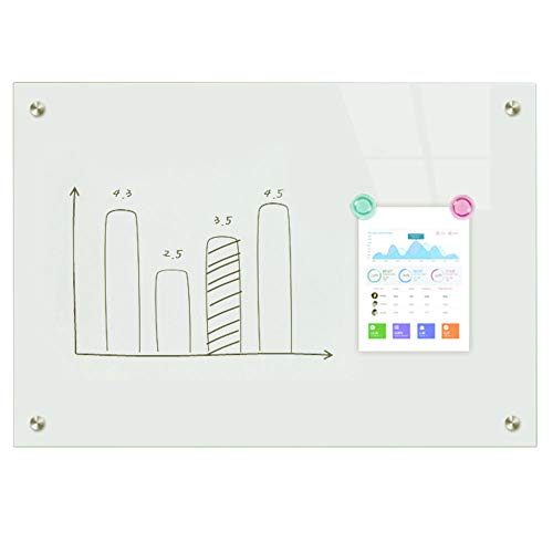 BESTBOARD Glass Whiteboard, Large 3' x 4' Magnetic Dry Erase Board, White Surface