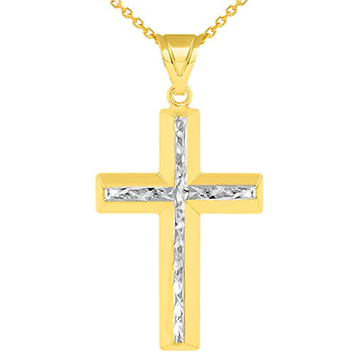 14k Yellow Gold Textured Beveled Edge Two Tone Latin Cross Pendant Necklace, 22