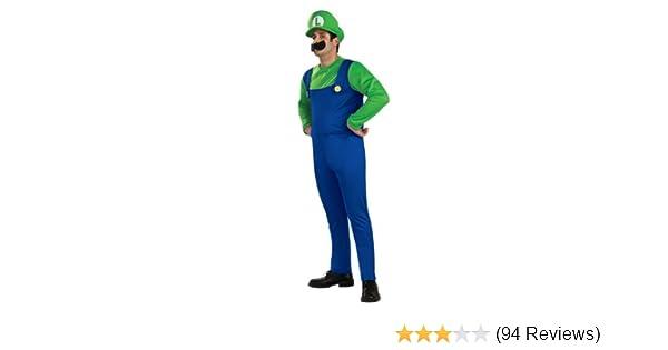 Amazon Com Super Mario Brothers Luigi Costume Blue Green Medium