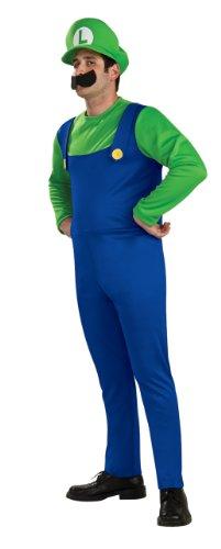 Super Mario Brothers Luigi Costume, Blue/Green, Medium (Blues Brother Costumes)