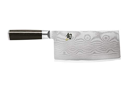 "Shun Classic 7"" Vegetable Cleaver; Ebony PakkaWood Handle and VG-MAX Damascus Clad, Blade Steel; Ultimate Tool for Chopping and Slicing Vegetables, Handcrafted in Japan by Skilled Artisans"