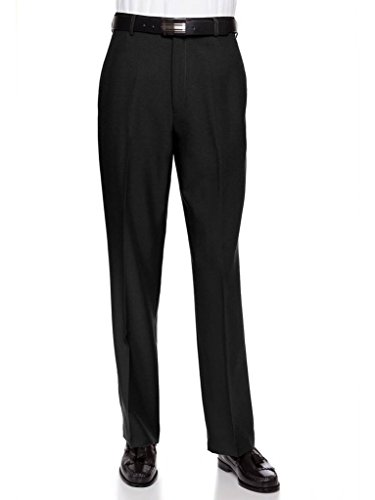 Cuff Dress Pants - RGM Men's Flat Front Dress Pant Modern Fit - Perfect for Office, Business and Every Day! Black 36W x 32L