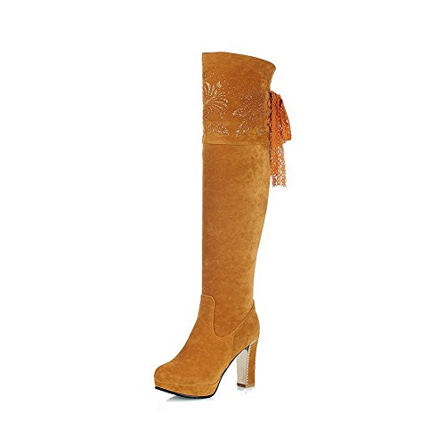 High High Solid Imitated Lace Allhqfashion Yellow Suede top up Heels Boots Women's w4tUFA