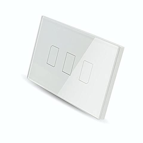 Smart Wall light Switch, Broadlink 220V 3 Gang Touch Panel Wi-fi Enabled Light Control Switch Glass Crystal, (3 Function Light Switch)