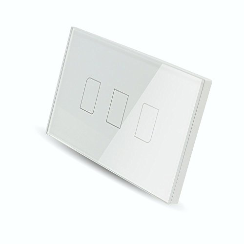 Smart Wall light Switch, Broadlink 220V 3 Gang Touch Panel Wi-fi Enabled Light Control Switch Glass Crystal, White