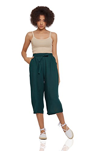 Gaucho Pants Women (Nothing But Love Cotton Culottes With Pockets Wide Leg Cropped Pants High Waist Loose Flowy Capris (Large, Green))
