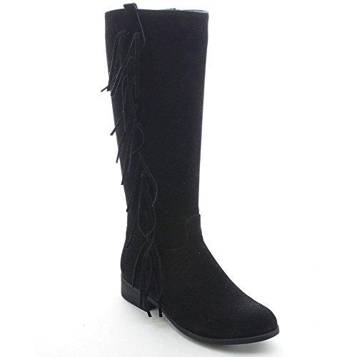 Betani Amber-9 Womens Boho Fringe Side Zip Knee High Riding Boots, Color:BLACK, Size:7