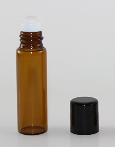 USA 72 Amber Glass 5 ml Roll-On Glass Bottles with GLASS Roller Roll On Balls - Refillable Aromatherapy Essential Oil Roll On (72) ()