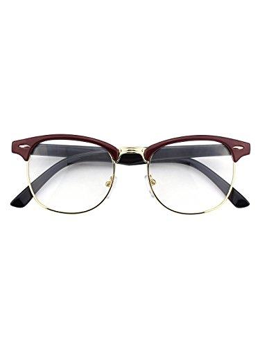Happy Store CN56 Vintage Inspired Horn Rimmed Nerd Wayfarers UV400 Clear Lens Glasses,Red (05 Glasses)