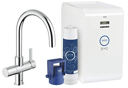 Grohe 31251001 Blue Chilled And Sparkling 2-Handle Faucet and Water System, Starlight Chrome