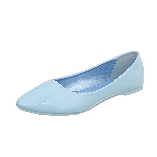 Ital-Design Klassische Ballerinas Damenschuhe Blockabsatz Moderne Hellblau C30