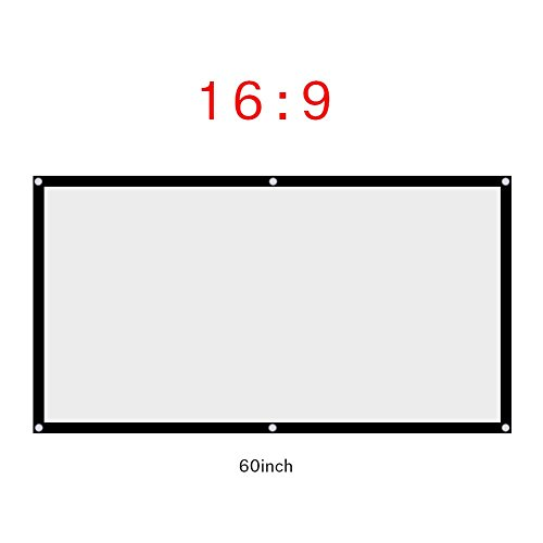 Fosa 60-120 Inch Portable Foldable Non-Crease White Projector Curtain Projection Screen 16:9 Portable Movies Screen for Projector Home Theater Outdoor/Indoor(60Inch)