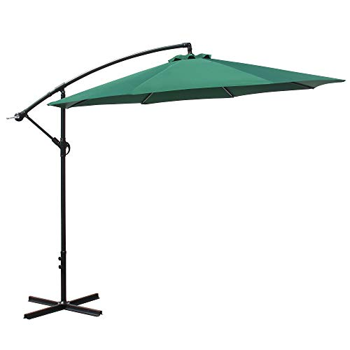 OUTDOOR DIAMOND 10ft Cantilever Patio Offset Umbrella Table Hanging Market Umbrella w/Tilt Crank for Backyard Poolside Lawn Beach Garden Pool Cafe Deck No LED Strip Lights (Green)