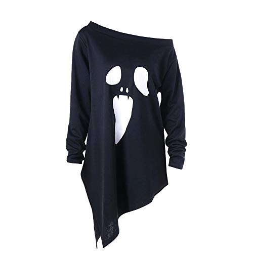 Women Tops !JSPOYOU Halloween Long Sleeve Ghost Print Sweatshirt Pullover Cotton Blouse -