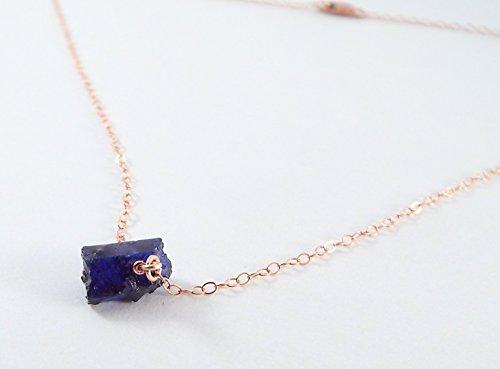 Captive Stone Sapphire Necklace (Rose Gold) (Ridge Blue Rose)