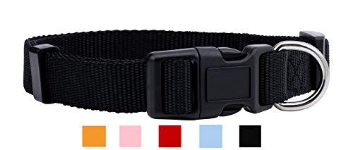 Native Pup Nylon Dog Collar Classic Solid Colors (Small, Black)