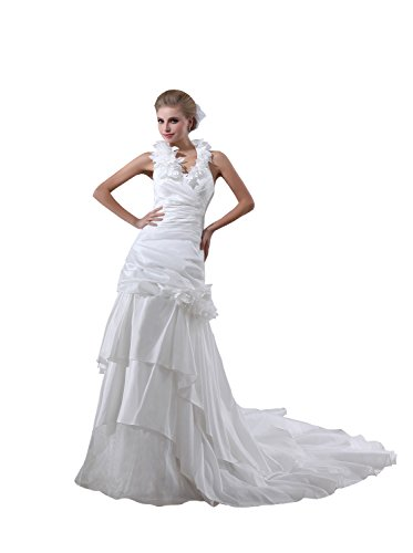 V-Neck Taffeta Wedding Dress - 8