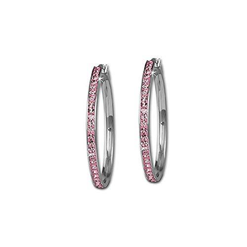 Eleganze Silver Plated Women Hoop Earrings Bridal Wedding Black White Pink Crystal Rhinestone Earrings (Pink 55MM)