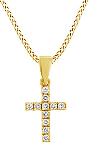 AFFY 0.11 Ct Round Natural Diamond Cross Pendant Necklace in 14K Solid Yellow Gold ()