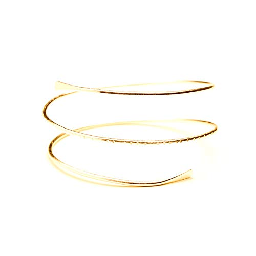 Spiral Cuff - HUNO Minimalist Metal Punk Spiral Coil Upper Arm Cuff Open Arm Bracelet Armlet Adjustable Hammered Wrap Armband Bangle for Women-Spiral Gold