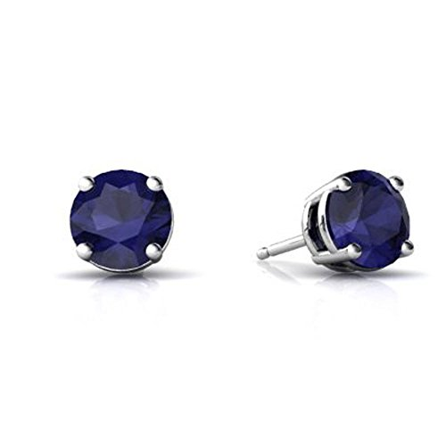 - 4MM - 9MM Sterling Silver SEPTEMBER Simulated BLUE SAPPHIRE ROUND Stud Earrings