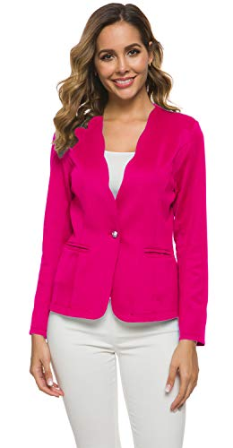 Women's One Button Slim Fit Casual Office Work Blazer Suit Jacket, Fuchsia, Small