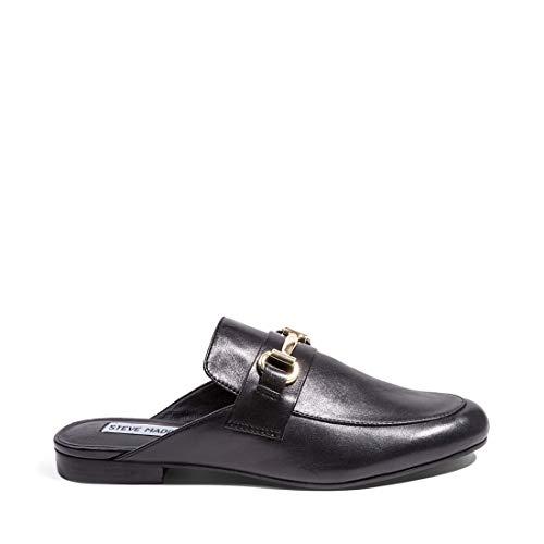 Steve Madden Women's Kandi Slip-On Loafer, Black Leather, 8 M US