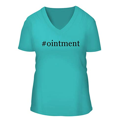 (#Ointment - A Nice Hashtag Women's Short Sleeve V-Neck T-Shirt Shirt, Aqua, Large)