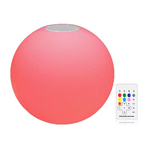uuffoo LED Ball Light with Speaker, Portable Floating Ball Light Speaker RGB Rechargeable Mood Night Light Suspended in The Swimming Pool(9.84x9.84'')