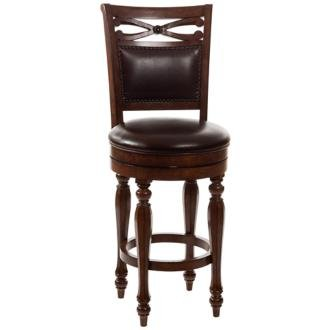 - Hillsdale Furniture Completely KD Hamilton Park Swivel Bar Stool with Upholstered Back, Brown