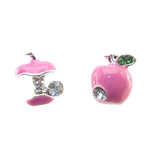 DaisyJewel Pink Ladies Asymmetrical Apple Stud