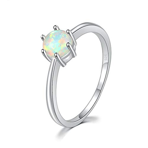 MARRLY.H Created White Pink Blue Orange Green Fire Opal 5Mm Silver Plated for Women Jewelry Ring Blue 7