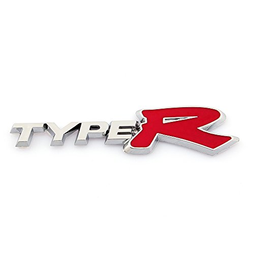 SOA New 1pc Type R Front Red Logo Emblem Decal 1pc Back Rear Red Emblem Fit For Type R JDM Prelude//Civic//Integra//Accord