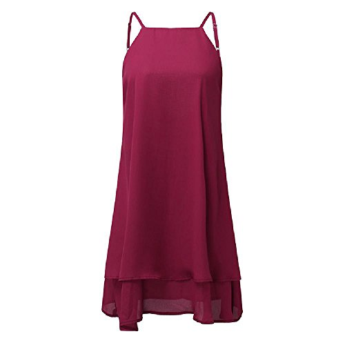 NDJqer Women Solid Sleeveless Backless Strappy Ruffles Dress Sexy Loose Beach Party Plus Size Mini Dress Wine Red M