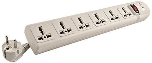 VCT - 220V/240V AC 13A Universal Surge Protector / Power Strip with 6 Universal Outlets. 50Hz/60Hz - 450 Joules. Max. 4000 Watt Capacity - Heavy Duty European Cord by VCT (Image #1)