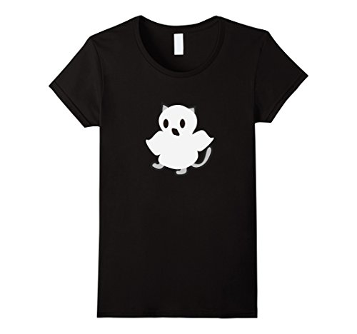 Womens Cute Halloween Cat Wearing Ghost Costume Shirt Large Black