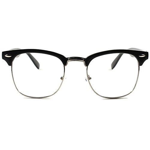 Half Frame Clubmaster Style – Clear Lens Glasses – Men + Women – Plastic + Metal Vintage + Retro Inspired – Computer Nerd Girl Fashion – 100% UVA UVB Ray - Latest Styles Mens Glasses