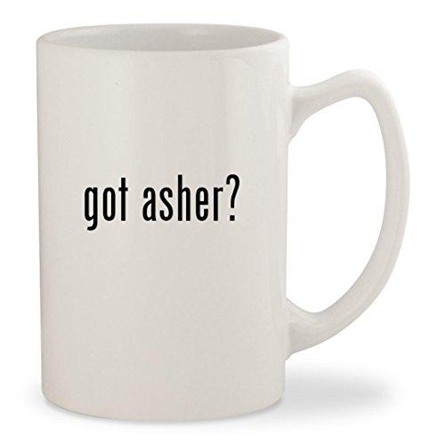 got asher? - White 14oz Ceramic Statesman Coffee Mug Cup (Chocolate Pretzels Sugar Free Covered)