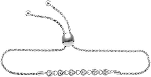 Ladies .925 Sterling Silver White 1 Row Heart Diamond Bolo Tie Bracelet 1/10 CT (I3 clarity; color) by Jewels By Lux