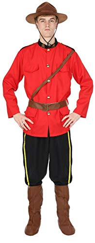 Mens Canadian Mountie Police Red Uniform Outfit Halloween Costume Extra Large ()