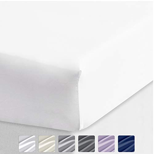 California Design Den Cotton Sheet 600 Thread Count - Pure White Queen 1 Piece Deep Pocket Soft Fitted Sheet Only, Long Staple Combed Cotton Silky Sheet for Home and Hotel (Fitted Sheets Queen Extra Deep)