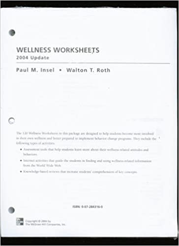 Printables Wellness Worksheets wellness worksheets paul m insel walton t roth 9th edition