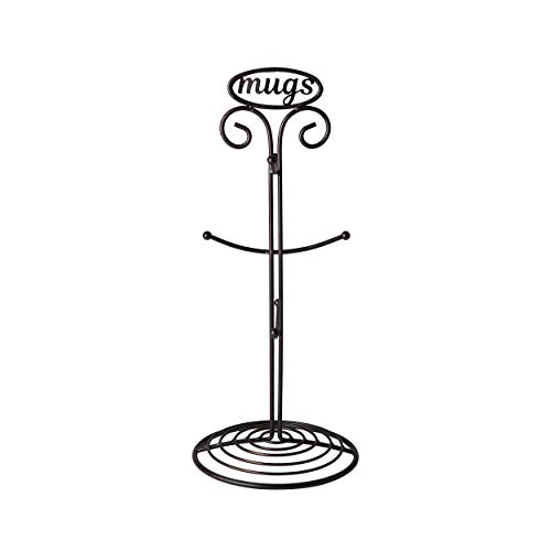 Pfaltzgraff Basics 5227657 Chit Chat Carbon Steel 6-Cup Mug Tree, 16-Inch, Antique Black