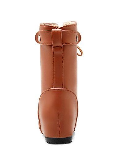 XZZ  Damen-Stiefel-Büro     Kleid   Lässig-Kunstleder-Niedriger Absatz-Armeestiefel   Rundeschuh   Modische Stiefel-Schwarz   Braun   Gelb   B01KPZT6OA Sport- & Outdoorschuhe Mode dynamisch fc7360