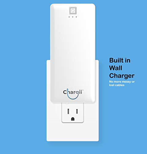 Chargii | Apple Power Bank | All-in-One Portable Charger | Cell Phone Battery Backup | Built-in Wall Plug AC Adapter, Apple & Micro USB Cables | 2 USB Ports | 5000 mAH | White by Chargii (Image #3)