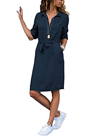 Devon Aoki Women's Casual Tunic Long Top Turndown Collar 3/4 Sleeve Solid Shirt Pocket Dress with Belt - Blue - Large