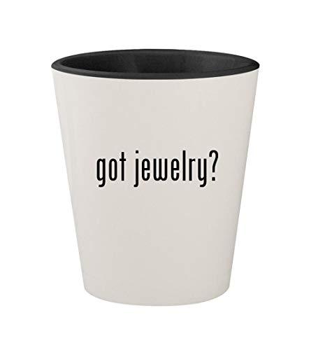(got jewelry? - Ceramic White Outer & Black Inner 1.5oz Shot Glass)