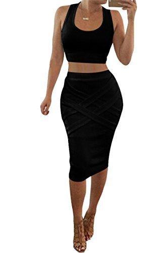 LaSuiveur Crop Top Midi Skirt Outfit Two Piece Bodycon Bandage Dress  Black Small